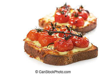 Grilled Cheese and Tomato - Cherry truss tomatoes over...