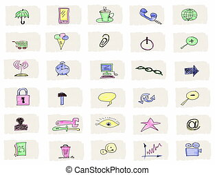 Hand drawn web icons isolated on white background