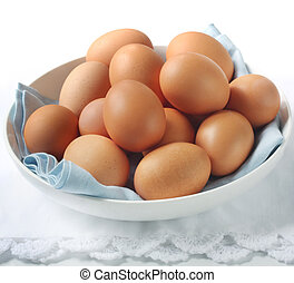 Eggs - Bowl of brown eggs, with white and blue napery.