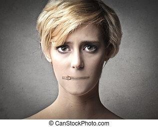 hinge on the mouth - woman with hinge on the mouth