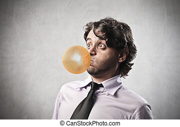 chewing gum - businessman with chewing gum