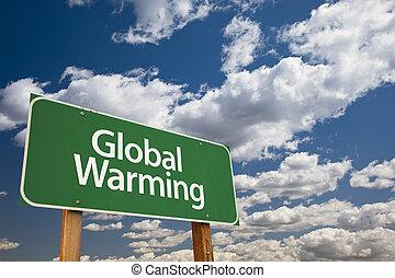 Global Warming Green Road Sign