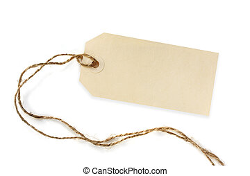 Blank Tag with String - Blank tag tied with brown string...