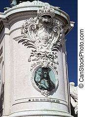 Equestrian Statue of King Jose I - Royal Coat of Arms and...