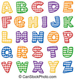 Alphabet, Bright Gingham Check - Original alphabet design in...
