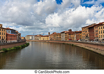 Arno River , Pisa - View of color houses of Pisa and Arno...