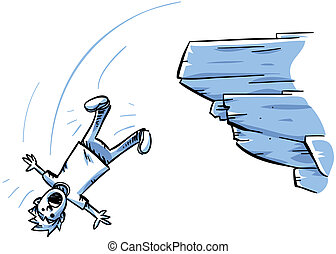 Cliff Fall - A cartoon man falling off of a rocky cliff.