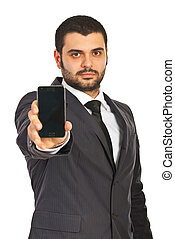 Business man showing phone display - Business man showing...