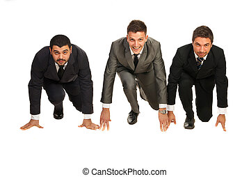 Business men ready for start - Three business men in a line...