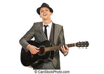 Guitarra, sujeito, tocando, Feliz