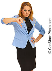 Upset business woman with thumb down