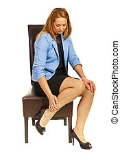 Business woman having leg pain - Tired business woman having...