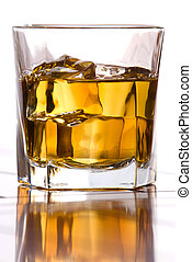 Whiskey on the rocks - A glass of whiskey on the rocks