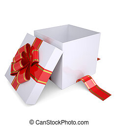 Open white gift box decorated with a red ribbon Isolated...