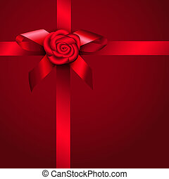 Red ribbon rose and bow. Design for gift, invitation card or...