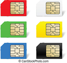 Sim card set. Illustration of designer on white background
