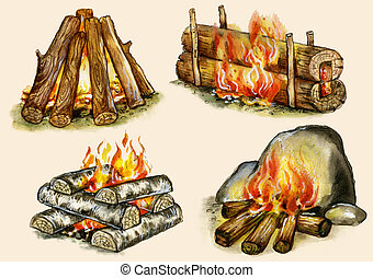 Campfires set : shelter ,block, well, warming Images,...