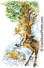 alce, Hámster, invierno, bosque