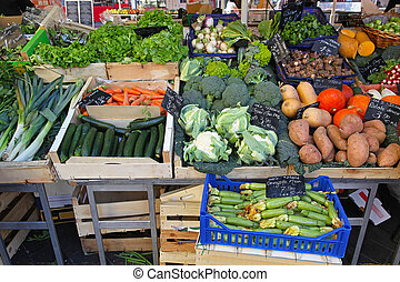 Farmers market - Variety of green vegetables at farmers...