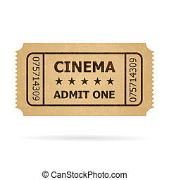 Retro cinema ticket. Illustration of designer on a white...