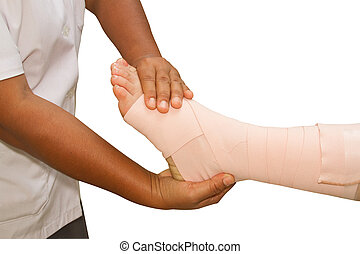 Doctor checking the ankle joint, ankle strain
