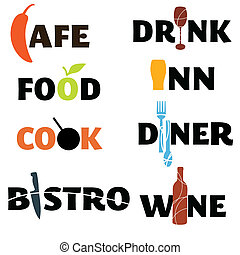 A set of food and drink themed word graphics