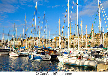 harbour of Saint Malo, France - harbour in old town of of...