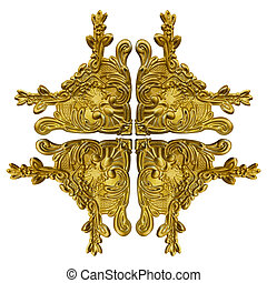 Pattern of gold metal frame carve flower on white background...
