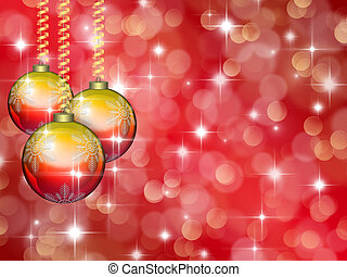Christmas red background with stars and balls