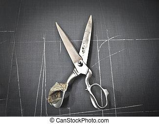 Broken scissor on chalkboard