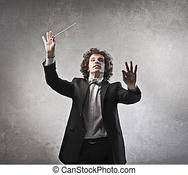 conductor directs musicians