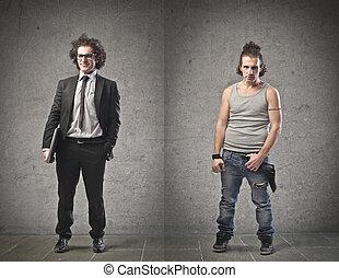 different men - businessman elegant dress and badly dressed...