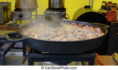 meat cook pan outdoor