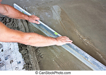 Plasterer concrete worker at floor - Plasterer concrete...