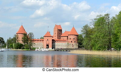 trakai yacht people - Galve lake yacht sail and people...