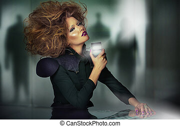 Art picture of beautiful woman with usual haircut