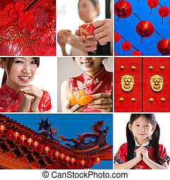 Chinese new year concept - Collection / collage photo of...