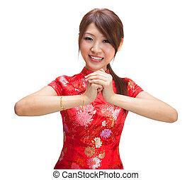Chinese girl greeting - Chinese girl in traditional Chinese...