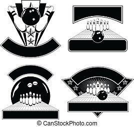 Bowling Design Emblem Templates - Illustration of four...