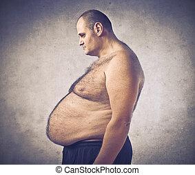 Fat man with big tummy