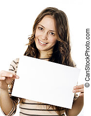 Teenager holding a piece og paper