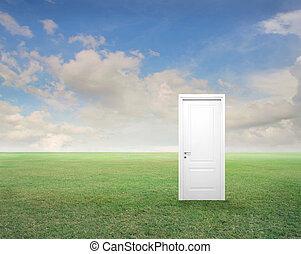 white door in landscape