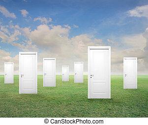 doors - white doors in landscape