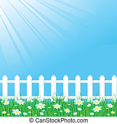 Blue sky with white fence - Background with grass reflecting...