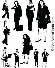 Businesswomen black and white silh