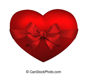 Happy valentine background. Heart with red ribbon bow isolated on white