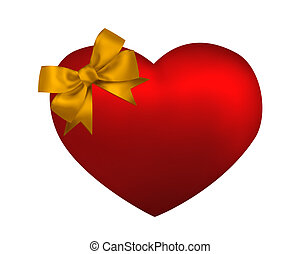 Heart with yellow bow isolated on white background. Valentine card illustration