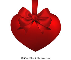 Red heart with ribbon bow isolated on white background. Valentine illustration