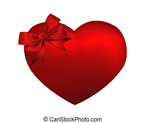 Heart with red bow isolated on white background. Valentine card illustration
