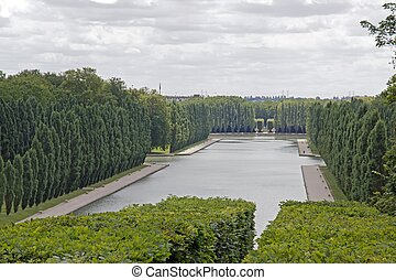 channel, canal and vegetation, form